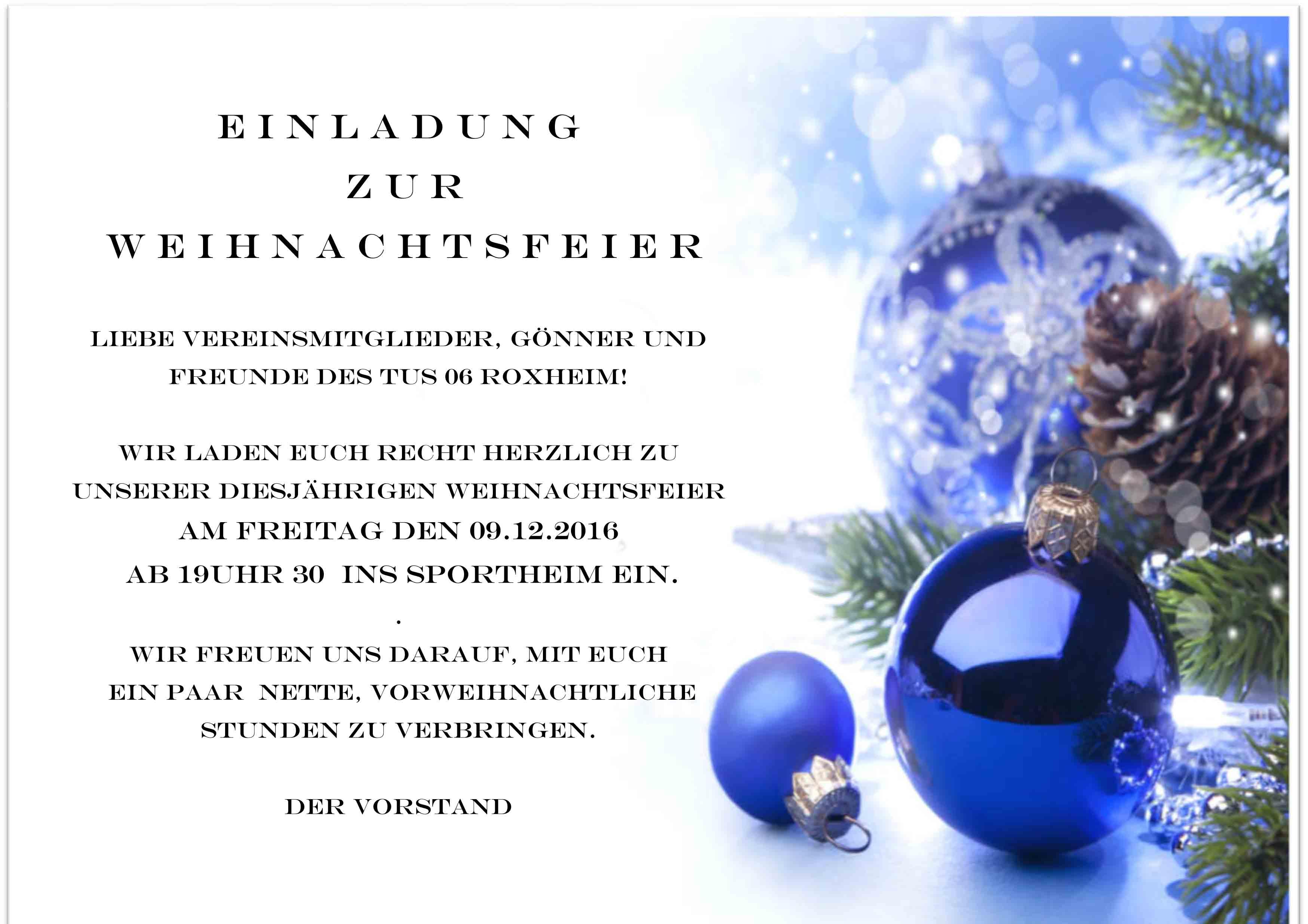 Einladung Weihnachtsfeier 2016